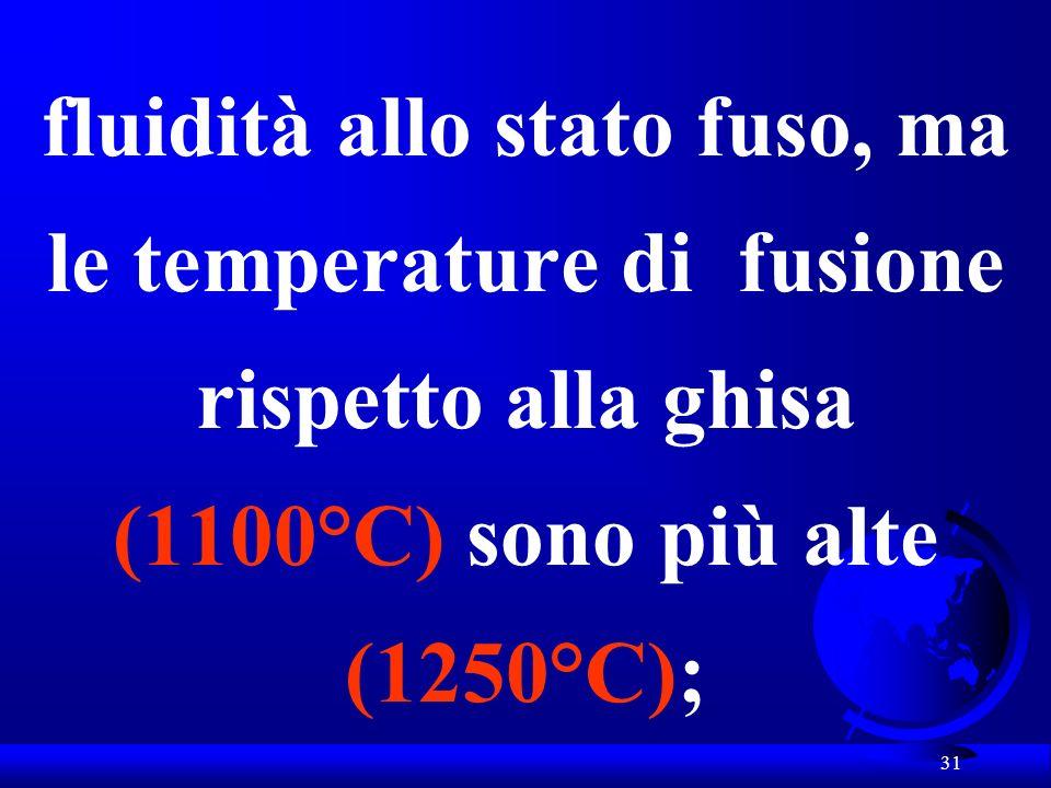 31 fluidità allo stato fuso, ma le temperature di fusione rispetto alla ghisa (1100°C) sono più alte (1250°C);