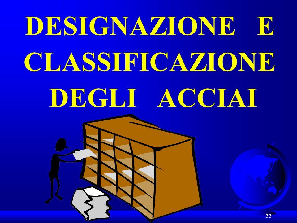 33 DESIGNAZIONE E CLASSIFICAZIONE DEGLI ACCIAI