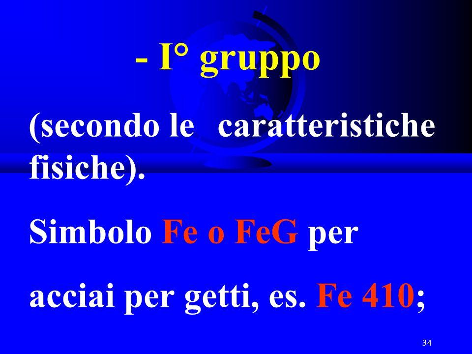 34 - I° gruppo (secondo le caratteristiche fisiche). Simbolo Fe o FeG per acciai per getti, es. Fe 410;
