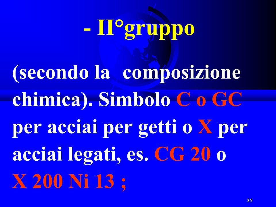 35 - II°gruppo (secondo la composizione chimica). Simbolo C o GC per acciai per getti o X per acciai legati, es. CG 20 o X 200 Ni 13 ;