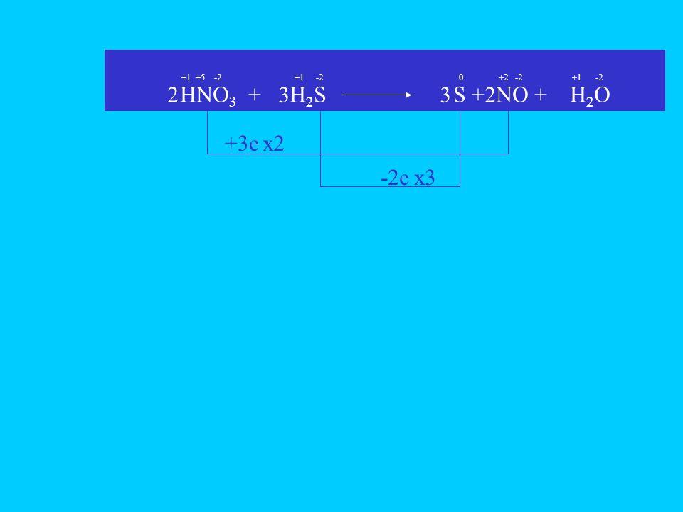 HNO 3 + H 2 S S + NO + H 2 O +3e -2e +1-2+5+1-2+1-2 +20 x2 22 x3 33