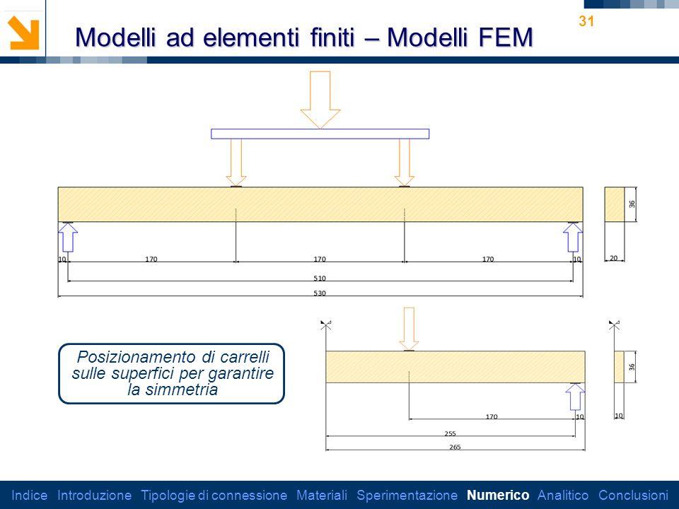 Dipartimento di Ingegneria Strutturale 31 Modelli ad elementi finiti – Modelli FEM Posizionamento di carrelli sulle superfici per garantire la simmetria Indice Introduzione Tipologie di connessione Materiali Sperimentazione Numerico Analitico Conclusioni