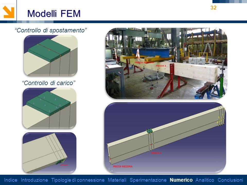 Dipartimento di Ingegneria Strutturale 32 Modelli FEM Controllo di spostamento Controllo di carico Indice Introduzione Tipologie di connessione Materiali Sperimentazione Numerico Analitico Conclusioni