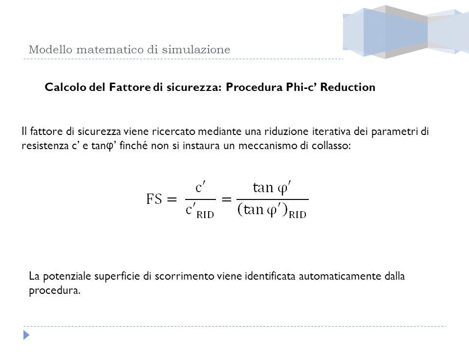 Modello matematico di simulazione Calcolo del Fattore di sicurezza: Procedura Phi-c Reduction Il fattore di sicurezza viene ricercato mediante una rid