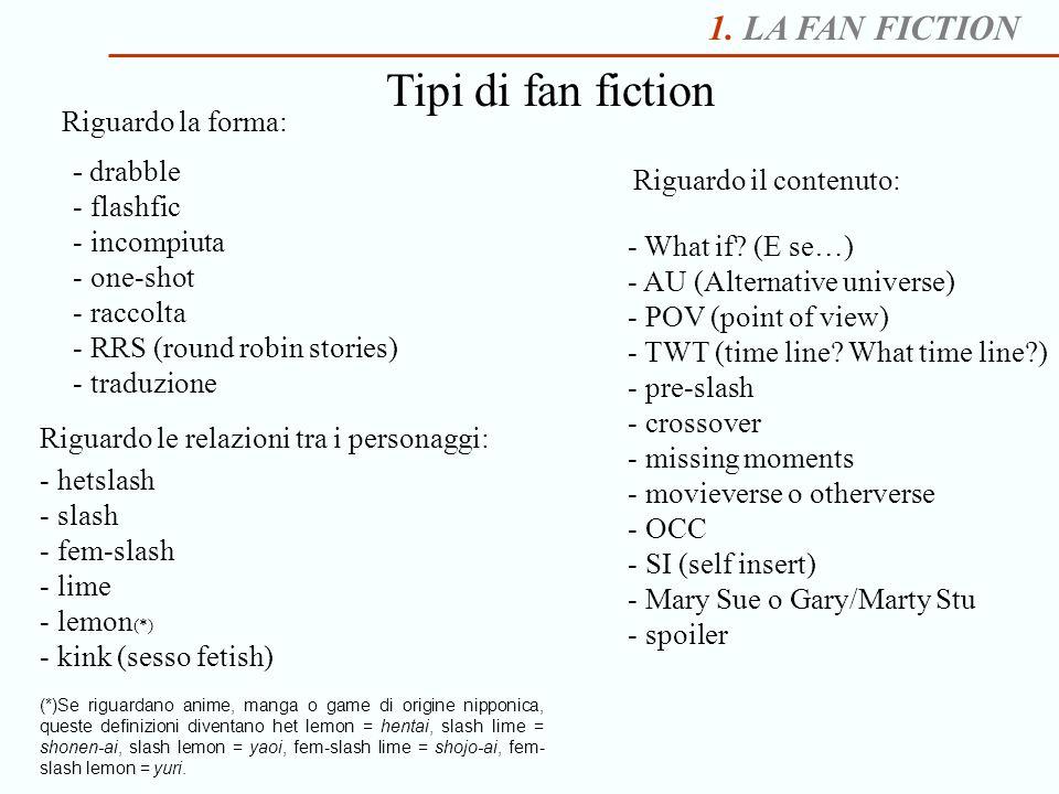 1. LA FAN FICTION Tipi di fan fiction - drabble - flashfic - incompiuta - one-shot - raccolta - RRS (round robin stories) - traduzione Riguardo la for