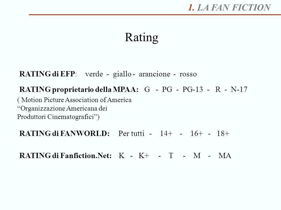 1. LA FAN FICTION Rating RATING di EFP: verde - giallo - arancione - rosso RATING proprietario della MPAA: G - PG - PG-13 - R - N-17 ( Motion Picture