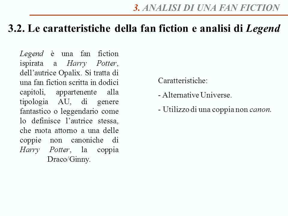 3. ANALISI DI UNA FAN FICTION 3.2. Le caratteristiche della fan fiction e analisi di Legend Legend è una fan fiction ispirata a Harry Potter, dellautr