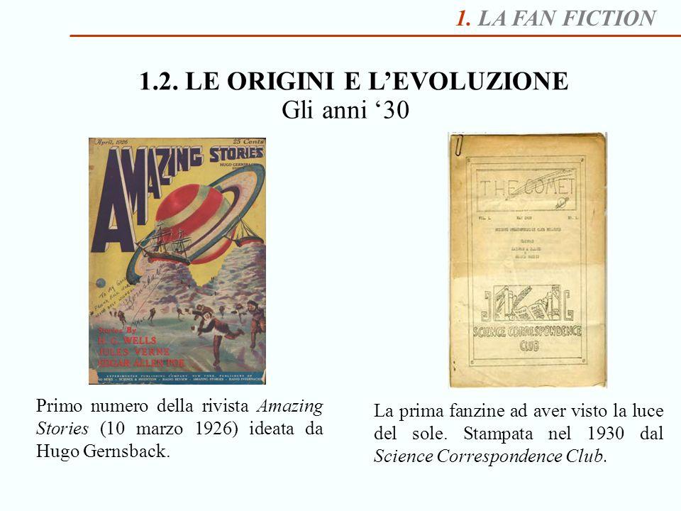 1. LA FAN FICTION 1.2. LE ORIGINI E LEVOLUZIONE Primo numero della rivista Amazing Stories (10 marzo 1926) ideata da Hugo Gernsback. Gli anni 30 La pr