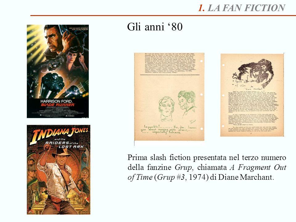 1. LA FAN FICTION Gli anni 80 Prima slash fiction presentata nel terzo numero della fanzine Grup, chiamata A Fragment Out of Time (Grup #3, 1974) di D