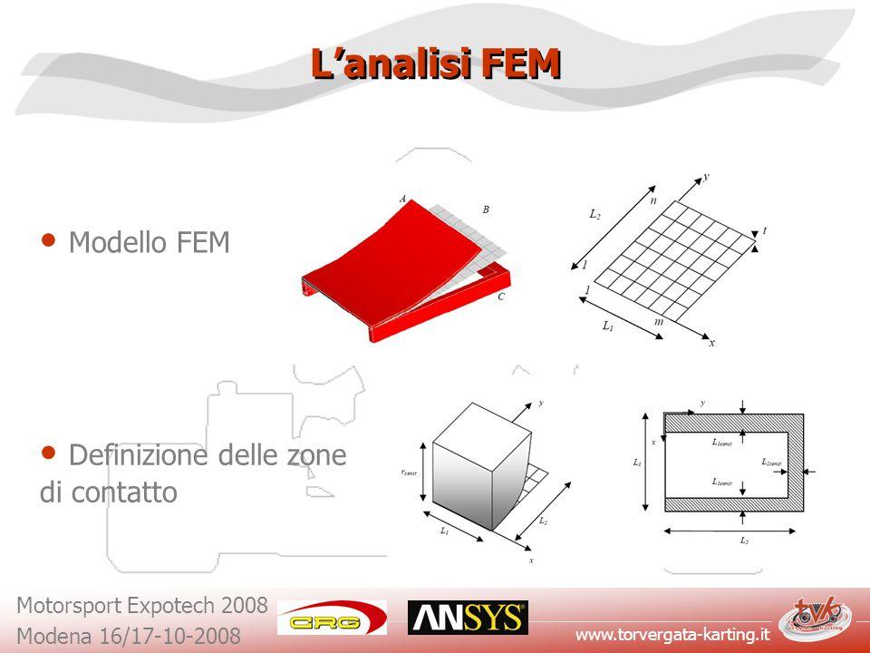 www.torvergata-karting.it Motorsport Expotech 2008 Modena 16/17-10-2008 Lanalisi FEM Modello FEM Definizione delle zone di contatto
