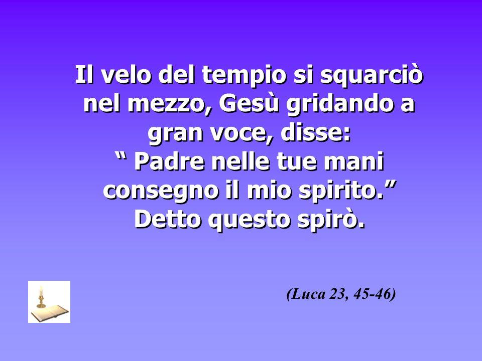 Il velo del tempio si squarciò nel mezzo, Gesù gridando a gran voce, disse: Padre nelle tue mani consegno il mio spirito. Detto questo spirò. (Luca 23