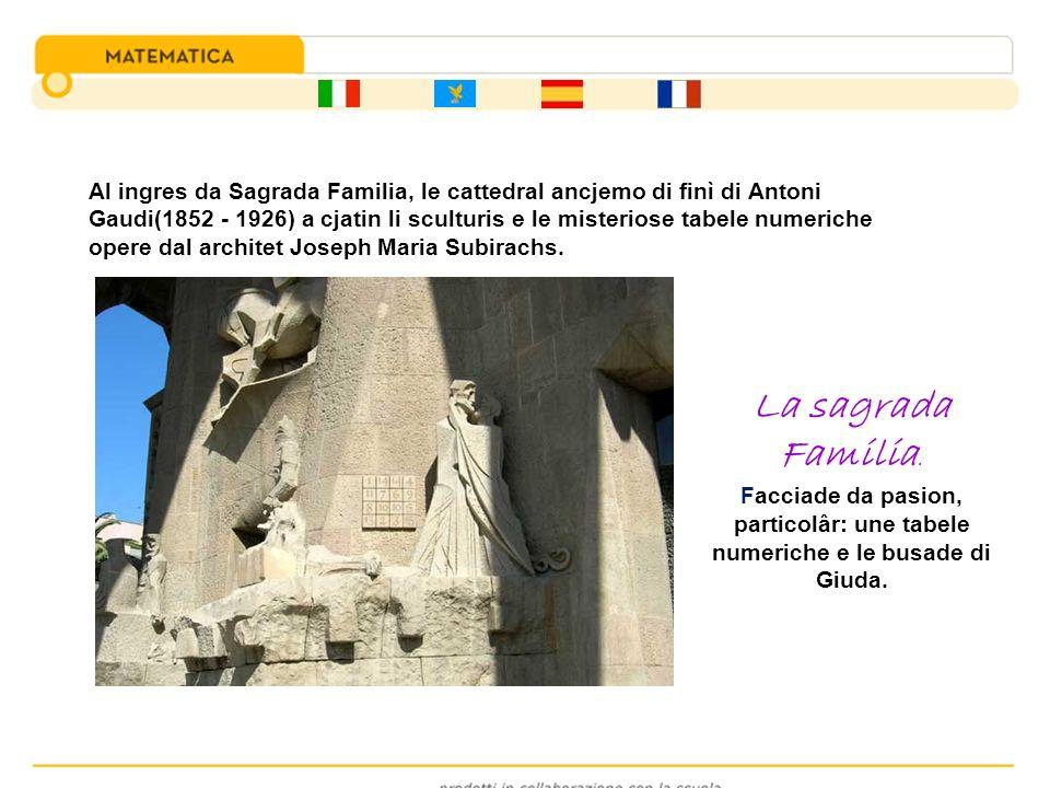 Al ingres da Sagrada Familia, le cattedral ancjemo di finì di Antoni Gaudi(1852 - 1926) a cjatin li sculturis e le misteriose tabele numeriche opere d