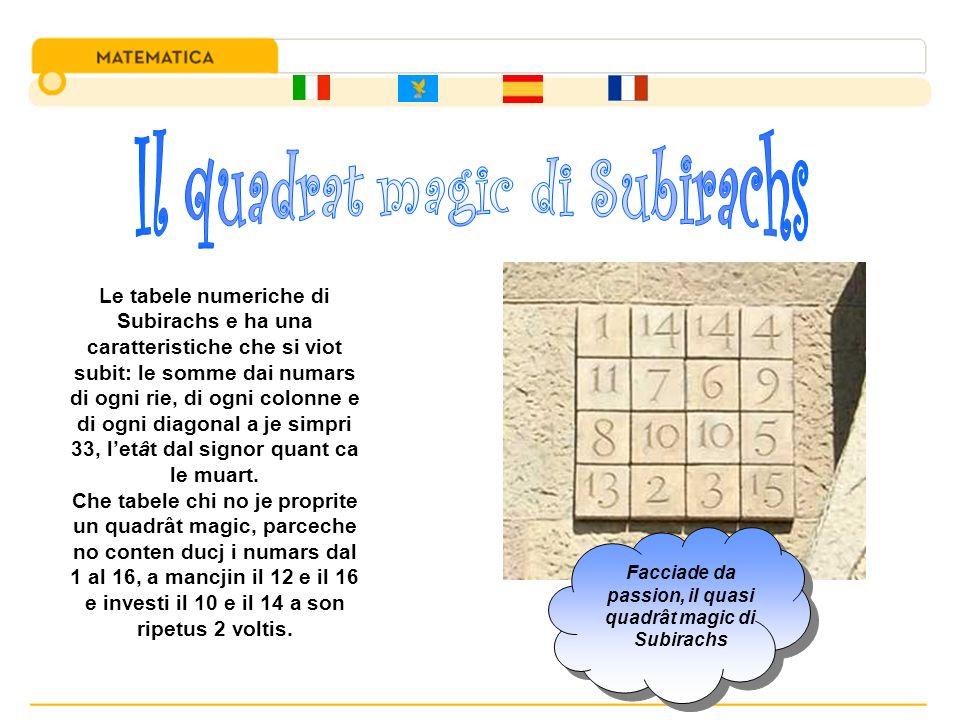 Le tabele numeriche di Subirachs e ha una caratteristiche che si viot subit: le somme dai numars di ogni rie, di ogni colonne e di ogni diagonal a je