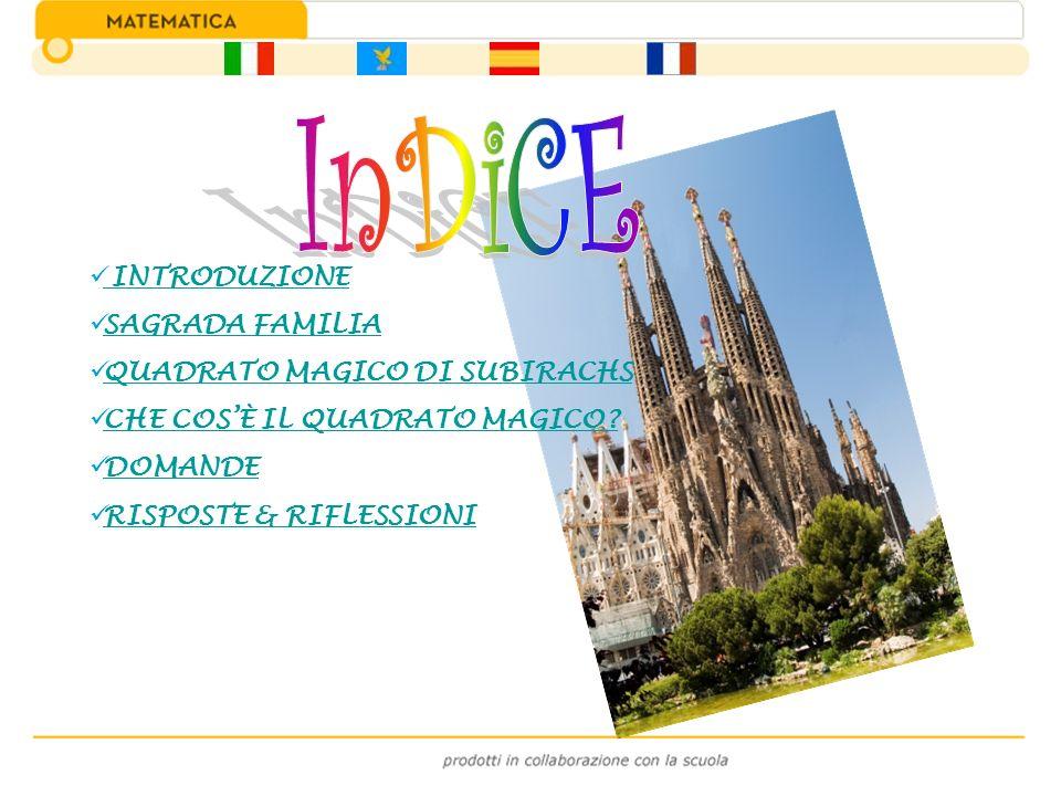 All ingresso della Sagrada Familia, la cattedrale ancora incompiuta di Antoni Gaudì(1852 - 1926),troviamo le sculture e la misteriosa tabella numerica opera dell architetto Joseph Maria Subirachs.
