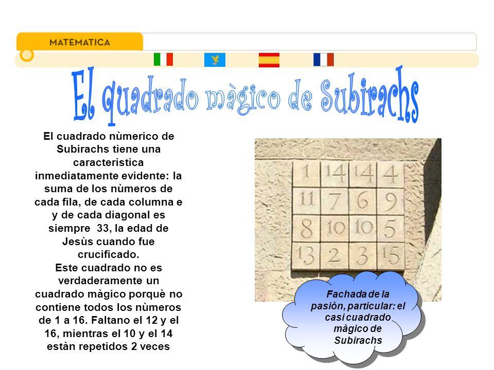 El cuadrado nùmerico de Subirachs tiene una caracteristica inmediatamente evidente: la suma de los nùmeros de cada fila, de cada columna e y de cada d