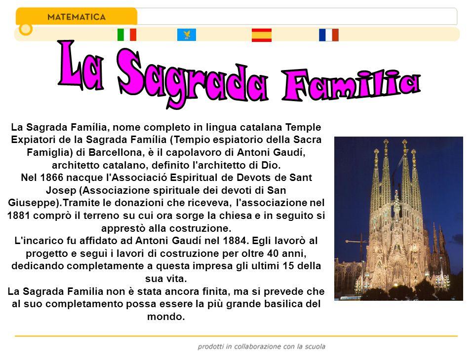 La Sagrada Família, nome completo in lingua catalana Temple Expiatori de la Sagrada Família (Tempio espiatorio della Sacra Famiglia) di Barcellona, è