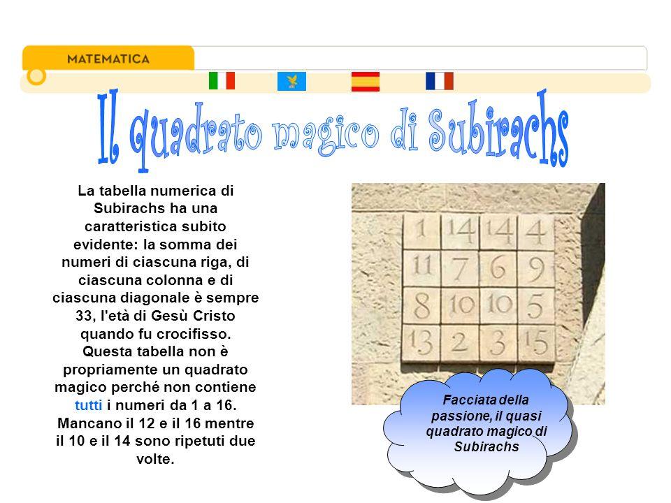 La tabella numerica di Subirachs ha una caratteristica subito evidente: la somma dei numeri di ciascuna riga, di ciascuna colonna e di ciascuna diagon