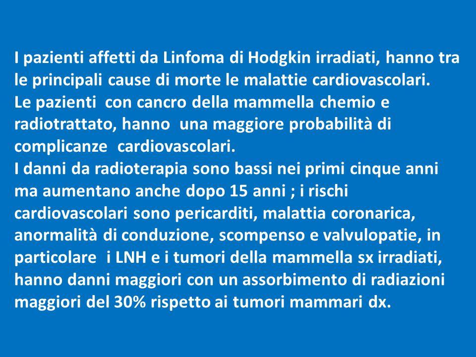 I pazienti affetti da Linfoma di Hodgkin irradiati, hanno tra le principali cause di morte le malattie cardiovascolari. Le pazienti con cancro della m