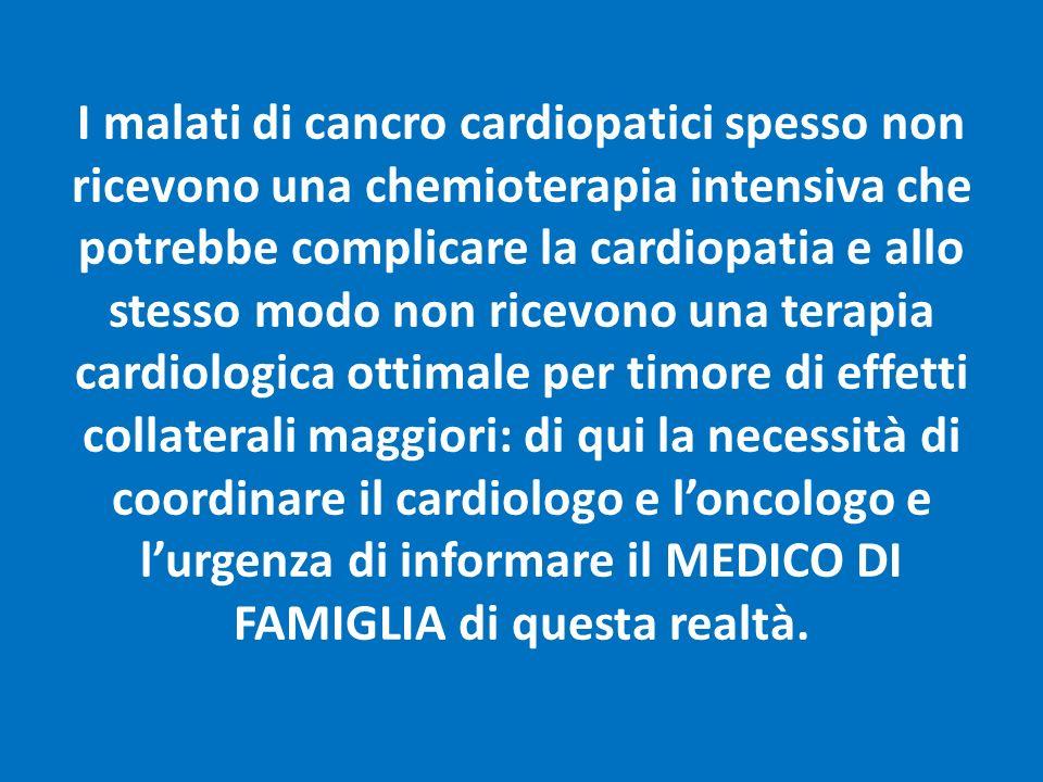 I malati di cancro cardiopatici spesso non ricevono una chemioterapia intensiva che potrebbe complicare la cardiopatia e allo stesso modo non ricevono