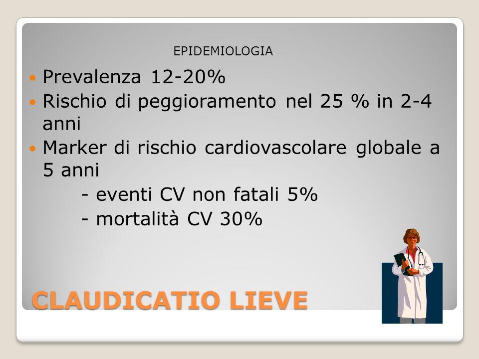 CLAUDICATIO LIEVE Prevalenza 12-20% Rischio di peggioramento nel 25 % in 2-4 anni Marker di rischio cardiovascolare globale a 5 anni - eventi CV non f