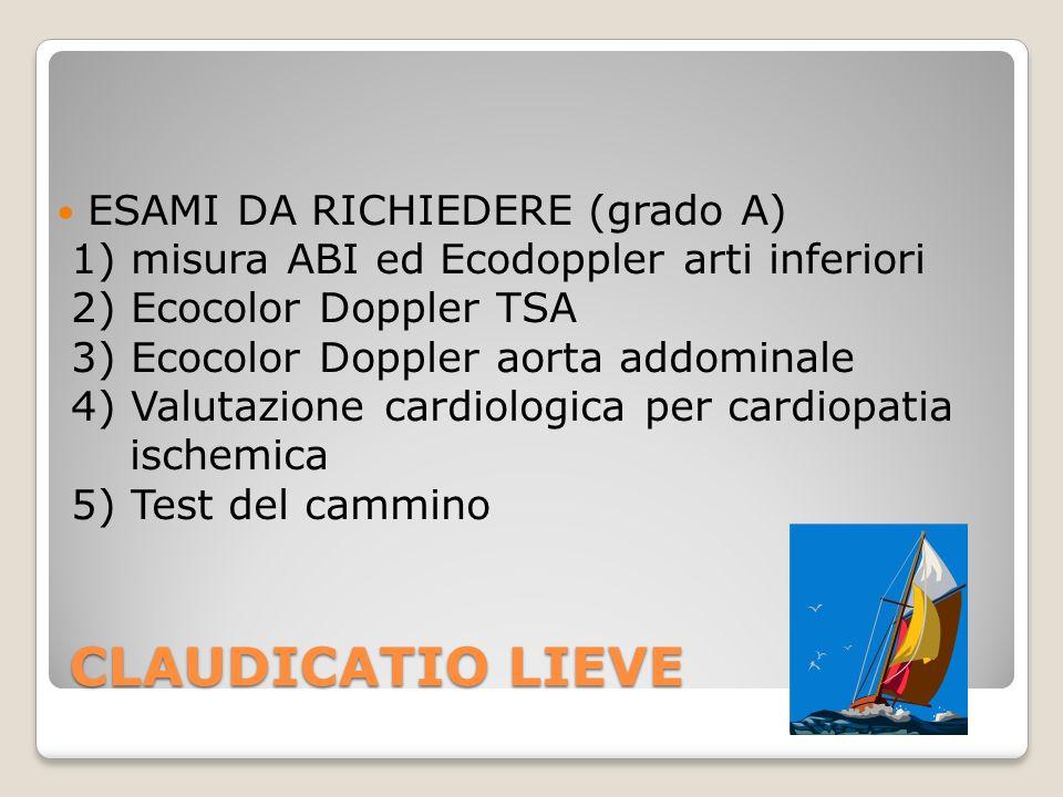 CLAUDICATIO LIEVE ESAMI DA RICHIEDERE (grado A) 1) misura ABI ed Ecodoppler arti inferiori 2) Ecocolor Doppler TSA 3) Ecocolor Doppler aorta addominal