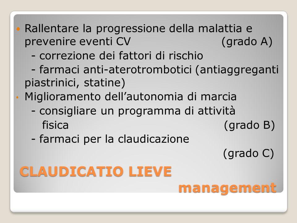 CLAUDICATIO LIEVE management Rallentare la progressione della malattia e prevenire eventi CV (grado A) - correzione dei fattori di rischio - farmaci a