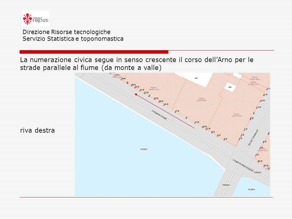 Direzione Risorse tecnologiche Servizio Statistica e toponomastica La numerazione civica segue in senso crescente il corso dellArno per le strade parallele al fiume (da monte a valle) riva destra