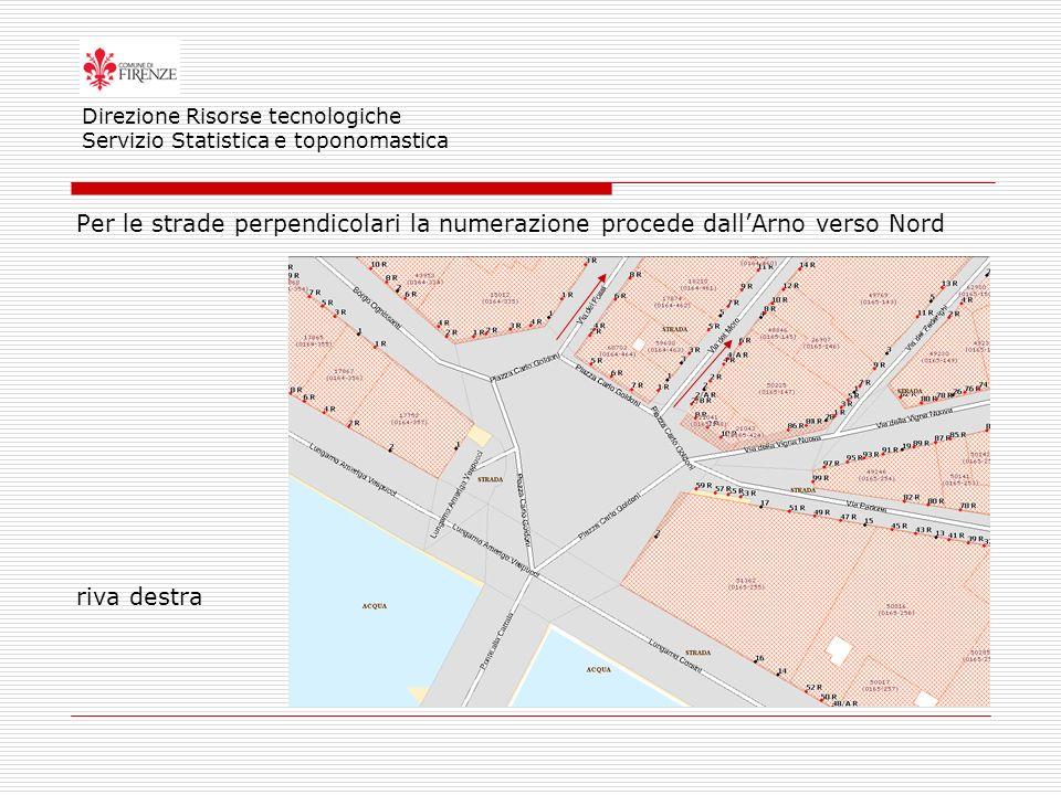 Per le strade perpendicolari la numerazione procede dallArno verso Nord riva destra Direzione Risorse tecnologiche Servizio Statistica e toponomastica