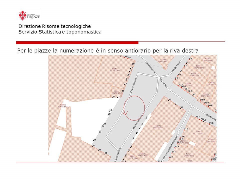 Per le piazze la numerazione è in senso antiorario per la riva destra Direzione Risorse tecnologiche Servizio Statistica e toponomastica