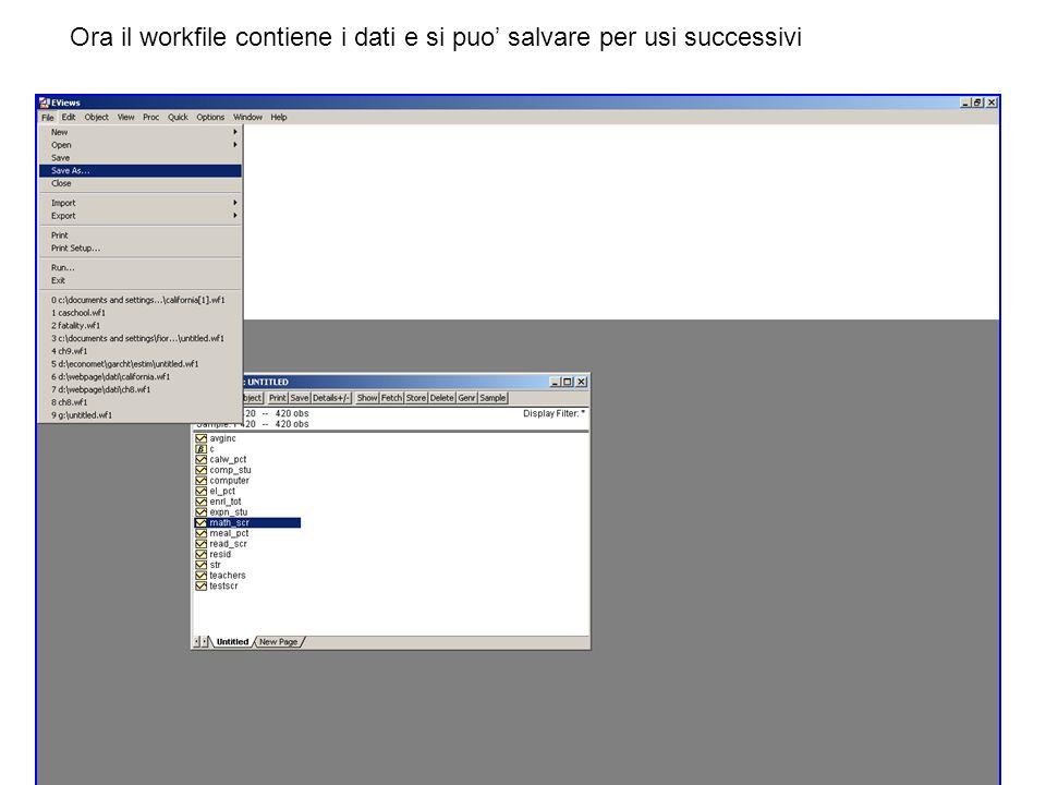 Ora il workfile contiene i dati e si puo salvare per usi successivi