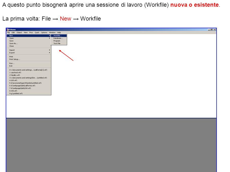 A questo punto bisognerà aprire una sessione di lavoro (Workfile) nuova o esistente. La prima volta: File New Workfile