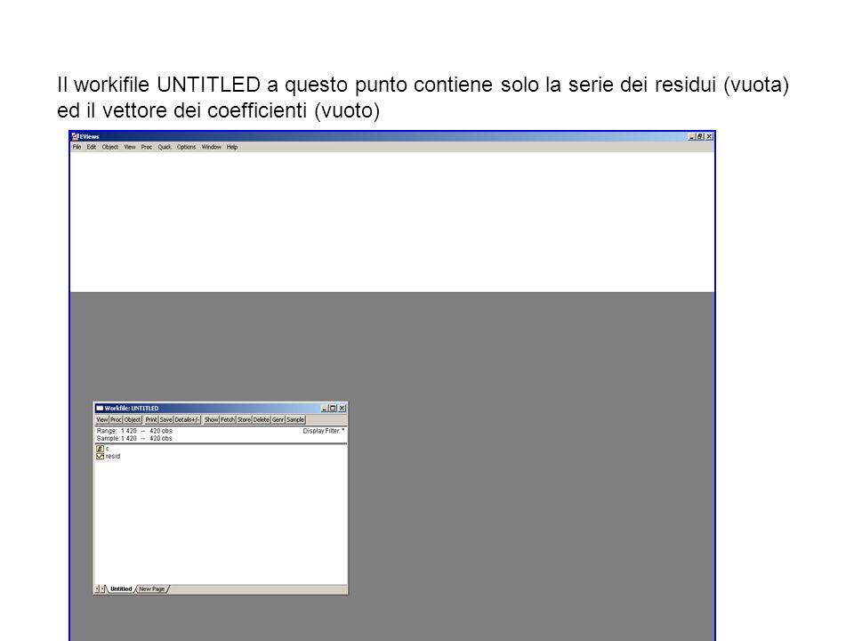 Il workifile UNTITLED a questo punto contiene solo la serie dei residui (vuota) ed il vettore dei coefficienti (vuoto)