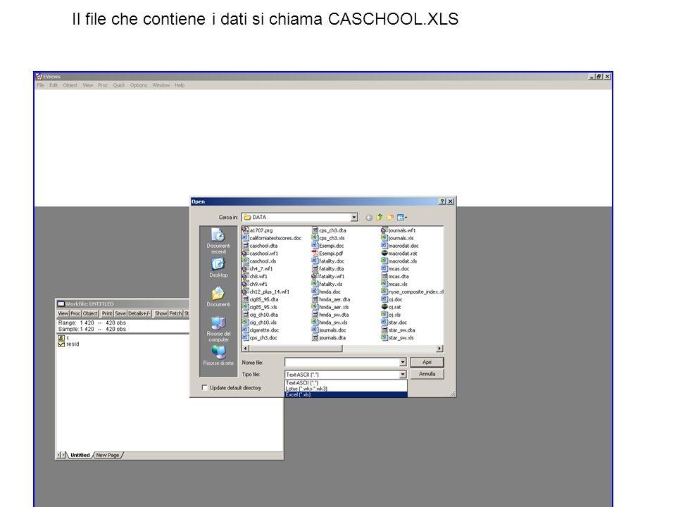 Il file che contiene i dati si chiama CASCHOOL.XLS