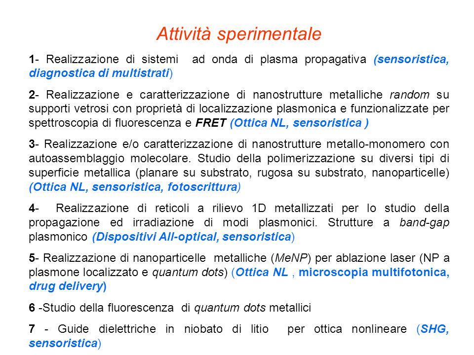 Attività sperimentale 1- Realizzazione di sistemi ad onda di plasma propagativa (sensoristica, diagnostica di multistrati) 2- Realizzazione e caratter