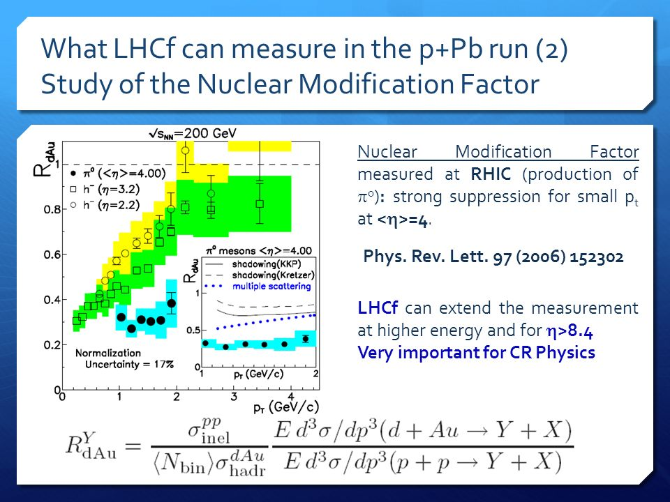 What LHCf can measure in the p+Pb run (2) Study of the Nuclear Modification Factor Nuclear Modification Factor measured at RHIC (production of 0 ): st