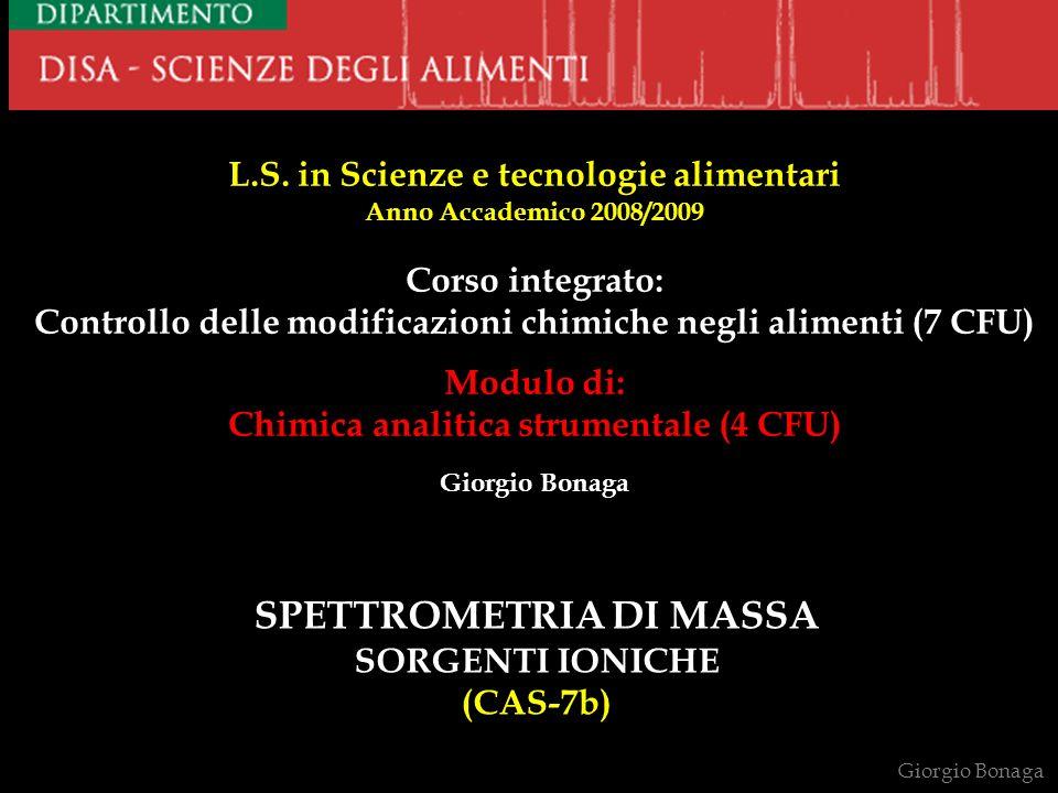 CONFRONTO TRA SORGENTI IONICHE Giorgio Bonaga SOURCEMASS RANGE (Da)ACCOPPIAMENTOSENSIBILITA EI500GC/MS> 10 -12 CI500GC/MS> 10 -12 ESI70.000LC/MS> 10 -13 nano ESI70.000LC/MS> 10 -15 APCI1200LC/MS> 10 -15 MALDI300.000LC/MS> 10 -15 FAB7.000no10 -9 <><>