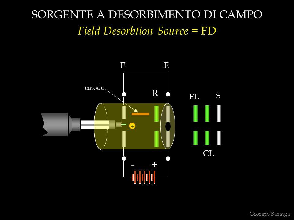 SORGENTE A DESORBIMENTO DI CAMPO Field Desorbtion Source = FD Giorgio Bonaga catodo + S FL CL R EE +-