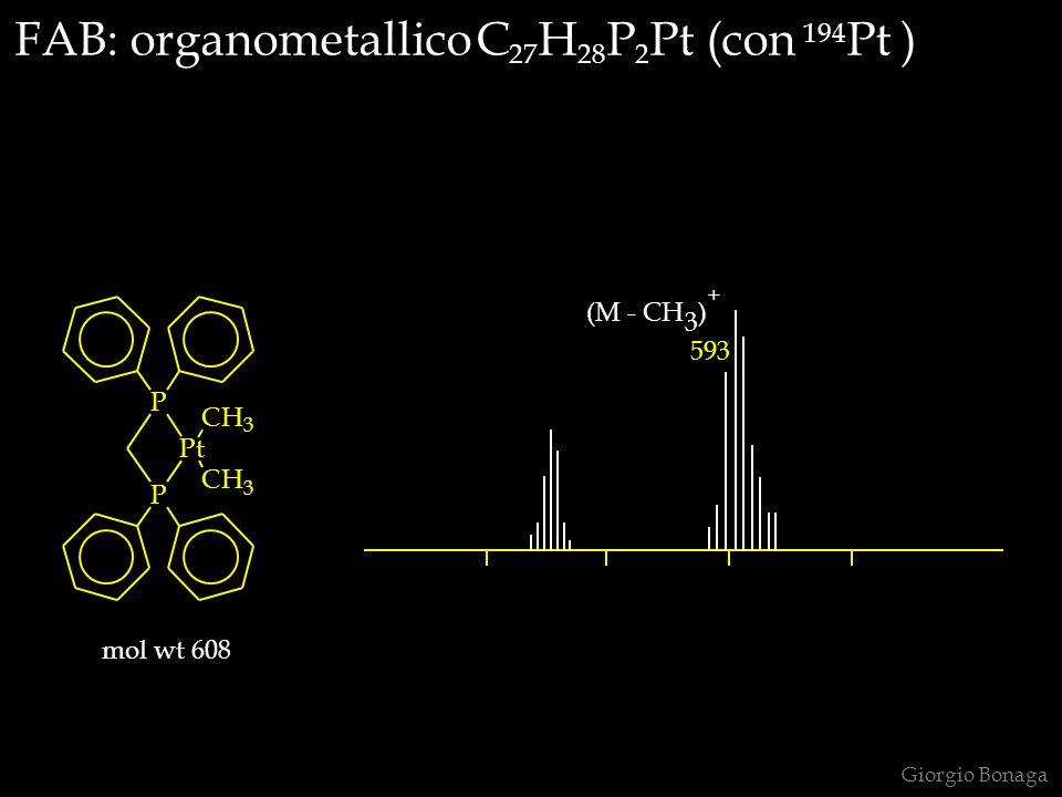 FAB: organometallico C 27 H 28 P 2 Pt (con 194 Pt ) P P Pt CH 3 CH 3 mol wt 608 (M - CH 3 ) + 593 Giorgio Bonaga