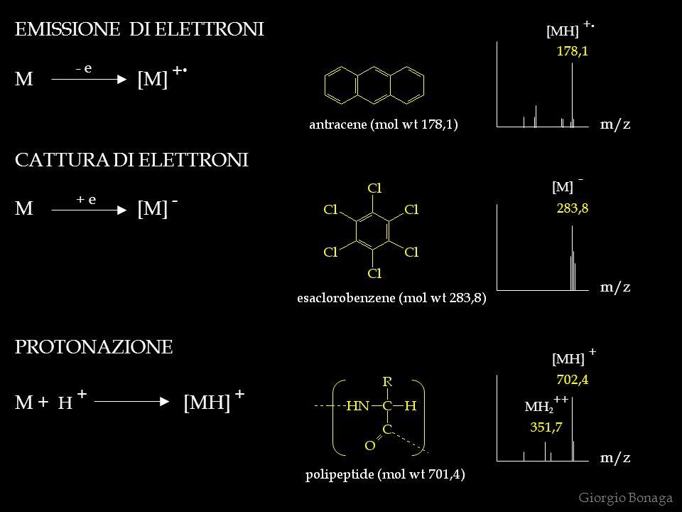 Giorgio Bonaga EMISSIONE DI ELETTRONI m/z 178,1 CATTURA DI ELETTRONI m/z 283,8 PROTONAZIONE M + H + [MH] + m/z 702,4 351,7 [MH] + MH 2 ++ [M] - [MH] +