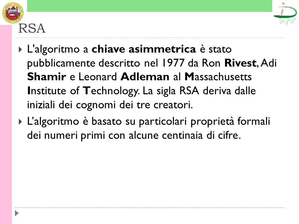 RSA L algoritmo a chiave asimmetrica è stato pubblicamente descritto nel 1977 da Ron Rivest, Adi Shamir e Leonard Adleman al Massachusetts Institute of Technology.
