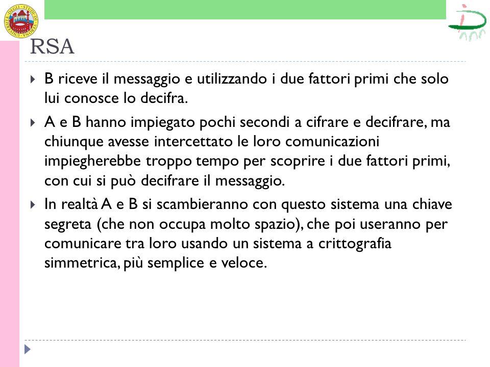 RSA B riceve il messaggio e utilizzando i due fattori primi che solo lui conosce lo decifra.