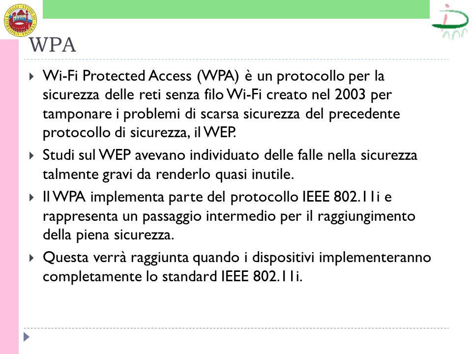 WPA Wi-Fi Protected Access (WPA) è un protocollo per la sicurezza delle reti senza filo Wi-Fi creato nel 2003 per tamponare i problemi di scarsa sicurezza del precedente protocollo di sicurezza, il WEP.