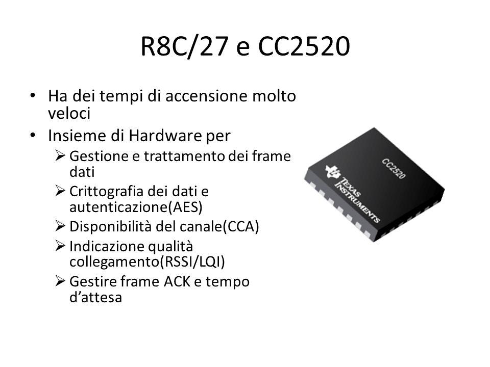 R8C/27 e CC2520 Ha dei tempi di accensione molto veloci Insieme di Hardware per Gestione e trattamento dei frame dati Crittografia dei dati e autenticazione(AES) Disponibilità del canale(CCA) Indicazione qualità collegamento(RSSI/LQI) Gestire frame ACK e tempo dattesa