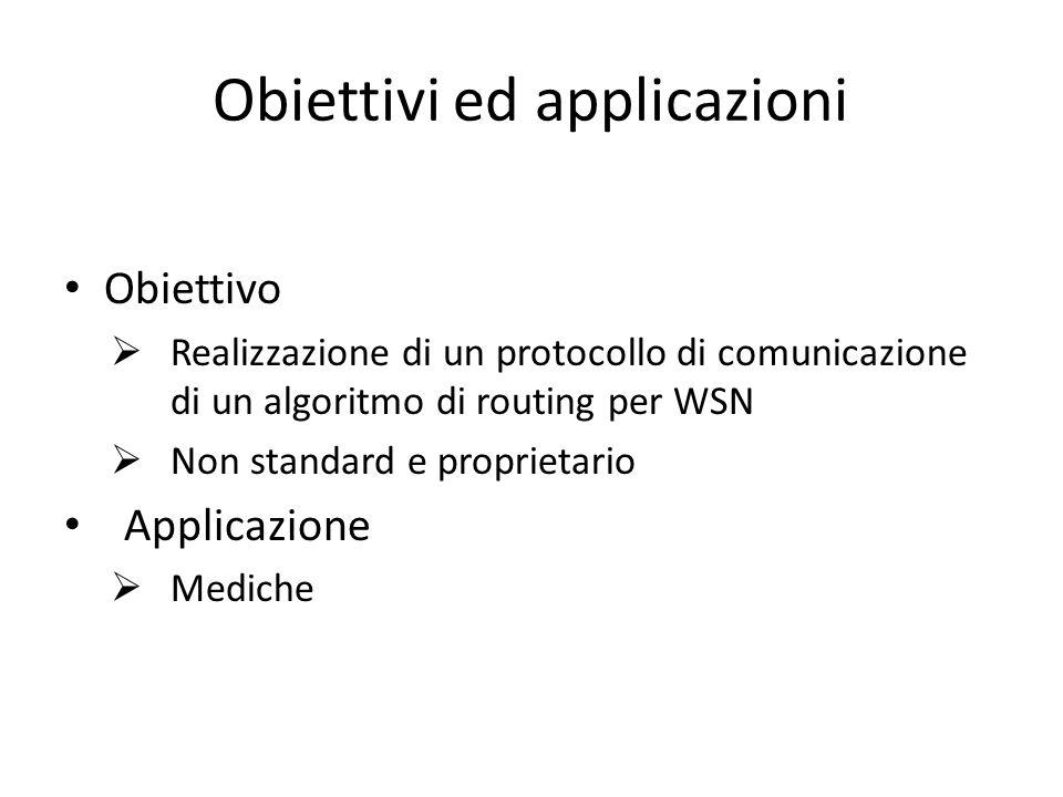 Obiettivi ed applicazioni Obiettivo Realizzazione di un protocollo di comunicazione di un algoritmo di routing per WSN Non standard e proprietario Applicazione Mediche