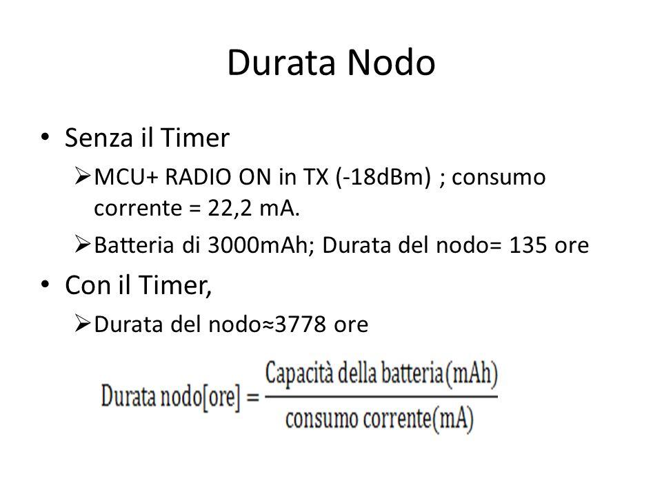 Durata Nodo Senza il Timer MCU+ RADIO ON in TX (-18dBm) ; consumo corrente = 22,2 mA.