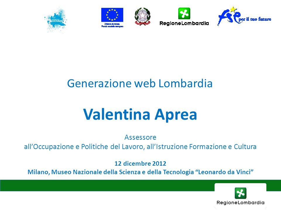 12 dicembre 2012 Milano, Museo Nazionale della Scienza e della Tecnologia Leonardo da Vinci Valentina Aprea Assessore allOccupazione e Politiche del Lavoro, allIstruzione Formazione e Cultura Generazione web Lombardia