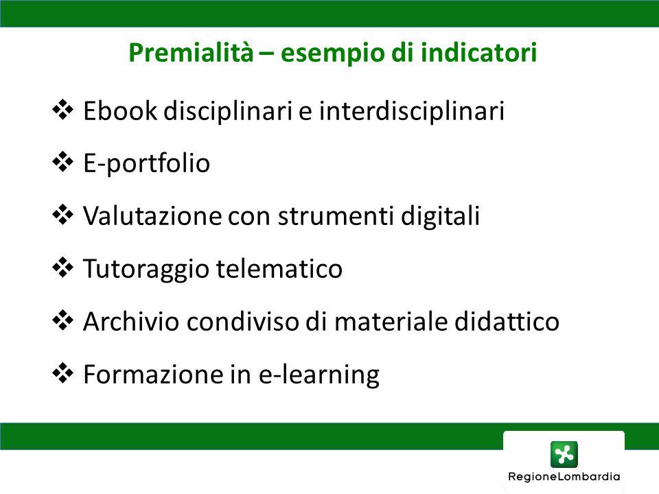 Premialità – esempio di indicatori Ebook disciplinari e interdisciplinari E-portfolio Valutazione con strumenti digitali Tutoraggio telematico Archivio condiviso di materiale didattico Formazione in e-learning
