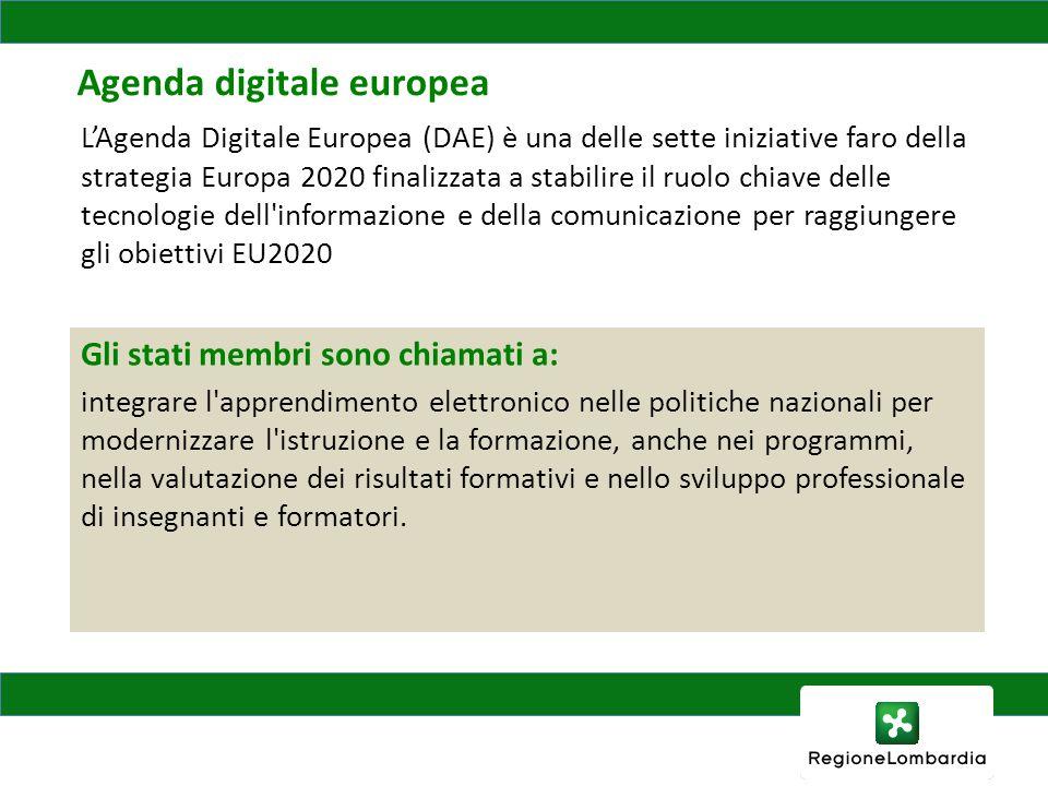 Agenda digitale europea Gli stati membri sono chiamati a: integrare l apprendimento elettronico nelle politiche nazionali per modernizzare l istruzione e la formazione, anche nei programmi, nella valutazione dei risultati formativi e nello sviluppo professionale di insegnanti e formatori.