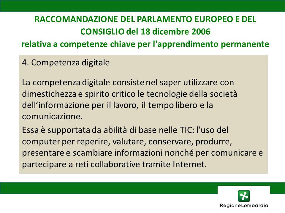 RACCOMANDAZIONE DEL PARLAMENTO EUROPEO E DEL CONSIGLIO del 18 dicembre 2006 relativa a competenze chiave per l apprendimento permanente 4.