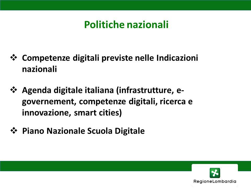 Politiche nazionali Competenze digitali previste nelle Indicazioni nazionali Agenda digitale italiana (infrastrutture, e- governement, competenze digitali, ricerca e innovazione, smart cities) Piano Nazionale Scuola Digitale